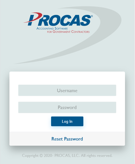 PROCAS Time Login Screen on Phone