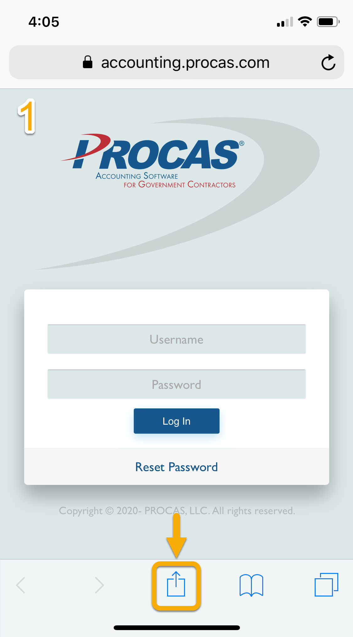 PROCAS Timesheet on Apple iOS