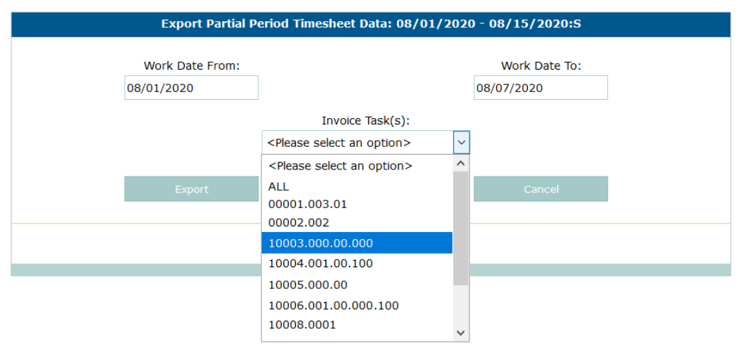 PROCAS Partial TImesheet Export